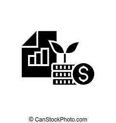 investment portfolio icon, vector illustration, black sign on isolated background