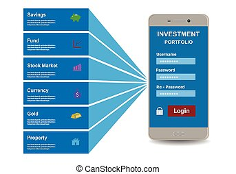 Investment portfolio design style flat. Business concept, vector illustration.