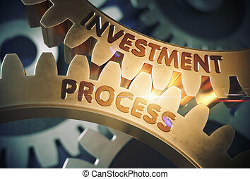 Investment Process on Golden Cogwheels. 3D Illustration.