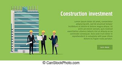 investment., progetto, costruzione, discutere, uomini