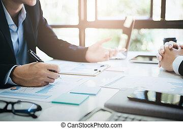 investment., réunion, collaboration, hommes affaires, discuter