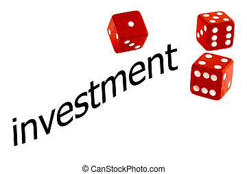 investment risk - Close up of red dice near  word investment