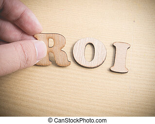 investment., roi, begrepp, retur, typografi, ord