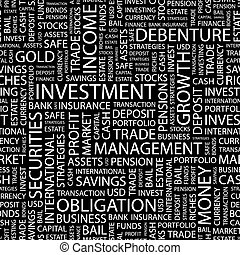 INVESTMENT. Seamless pattern. Word cloud illustration.