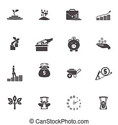 Investment Silhouette Icon Set - Money bucks coins tree and...