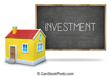 Investment text on blackboard with 3d house