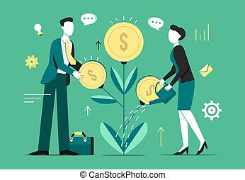 Investment tree growth vector illustration