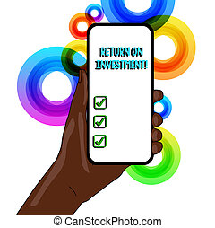 investment., utilizado, regreso, empresa / negocio, foto, actuación, evaluar, escritura, eficiencia, texto, medida, conceptual, mano, perforanalysisce