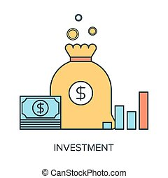 Vector illustration of investment flat line design concept.