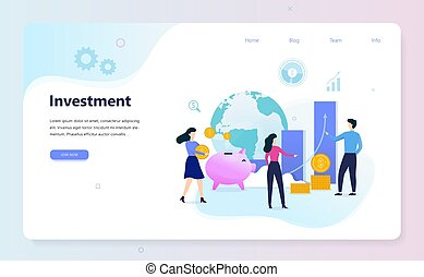 Investment web banner concept. Idea of money increase