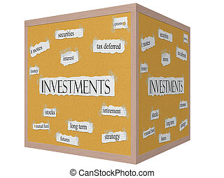 Investments 3D cube Corkboard Word Concept