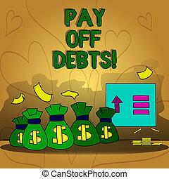 investments., debts., desligado, negócio, pagar, mostrando, escrita, hipotecas, coisa, mão, ter, texto, conceitual, tu, dívida, pagamento, foto