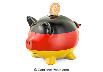 Investments in Germany. Piggy bank with flag and golden coin, business concept. 3D rendering