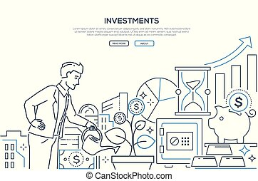 Investments - modern line design style web banner