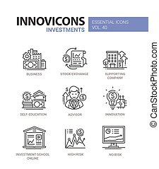 Investments - modern vector line design icons set.