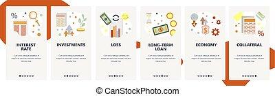 investments., préstamo, app, moderno, sitio, onboarding, ...
