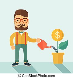 A Stockholder, investor hipster Caucasian businessman with beard happily watering a plant with a dollar sign on the top of it. Career, investor concept. A contemporary style with pastel palette soft blue background. Vector flat design illustration . Square layout with a text space on the upper right...