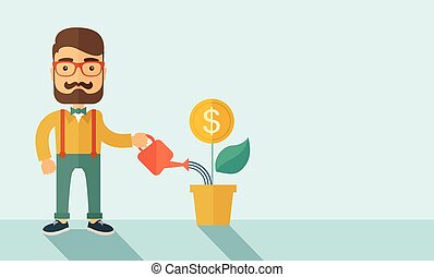 A Stockholder, investor hipster Caucasian businessman with beard happily watering a plant with a dollar sign on the top of it. Career, investor concept. A contemporary style with pastel palette soft blue background. Vector flat design illustration . Horizontal layout with a text space in right side.