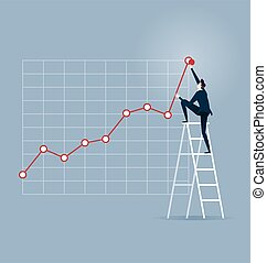 Investor. Businessman climbing up on a ladder