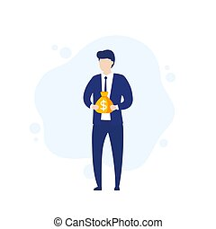 investor, businessman with money, financing and investing concept, vector