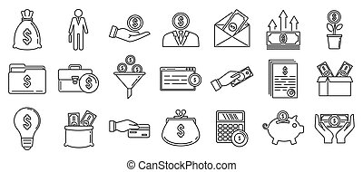 Investor finance icons set, outline style