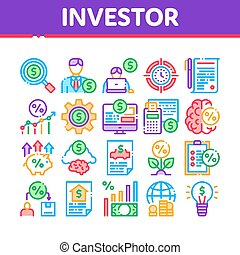 Investor Financial Collection Icons Set Vector
