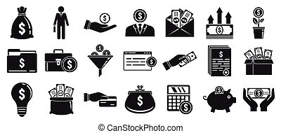 Investor icons set, simple style