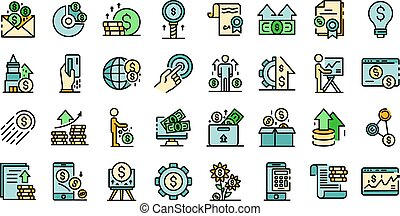 Investor icons vector flat