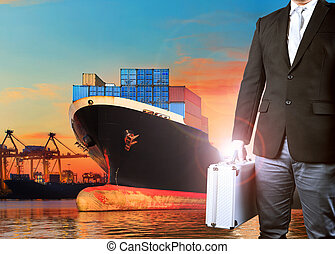 investor man and container ship loading in import - export harbor