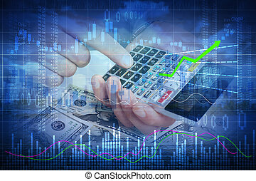 Investor man hands with calculator