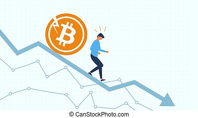 Investor running away from bitcoin coin. Marhet crash