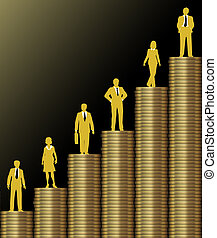 Investment people stand on chart of economic growth as graph of stacks of gold coins
