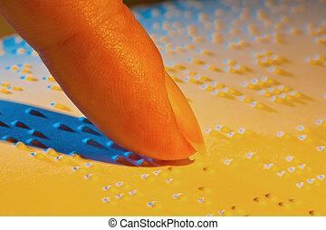 invidente, braille, braille., libro