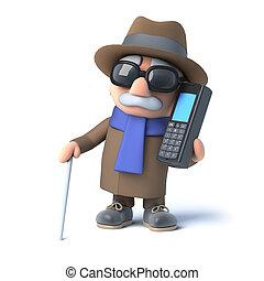 invidente, charlas, 3d, hombre, teléfono celular