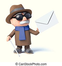 invidente, correo, tiene, 3d, hombre