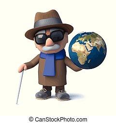 invidente, divertido, viejo, globo, carácter, hombre, tierra...