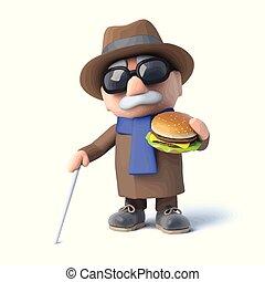 invidente, hamburguesa, hombre, come, 3d