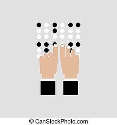 invidente, idioma, braille, ilustración, vector, lectura