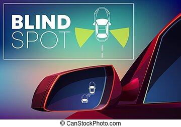 invidente, monitor, ayuda, punto, vector, vehículo, ...