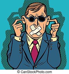 invidente, mudo, sordo, censura, hombre