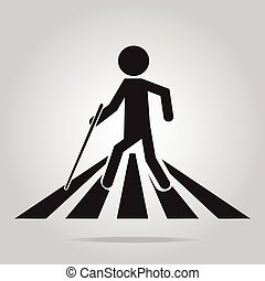 invidente, peatón, hombre, señal cruzando