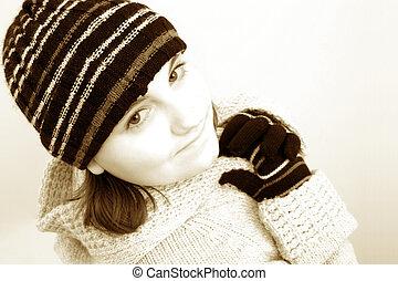 invierno, adolescente niña