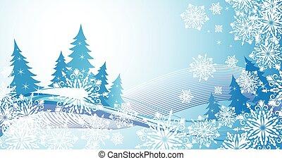 invierno, bandera, con, copos de nieve, y azul, coníferas
