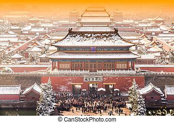 invierno, beijing, china, ciudad prohibida