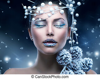 invierno, belleza, woman., navidad, niña, maquillaje