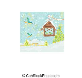 invierno, birdfeeder