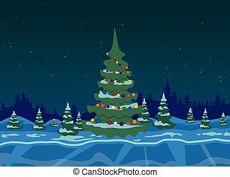 invierno, bosque, con, árbol de navidad