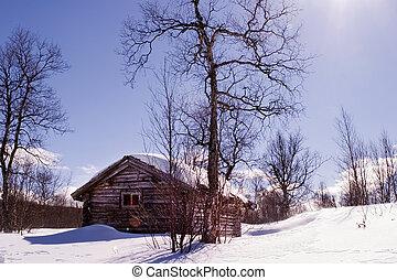 invierno, cabaña