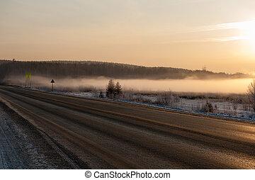 invierno, camino, en, mañana temprana