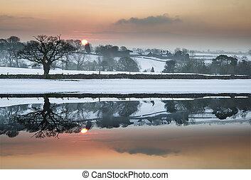 invierno, campo, reflejado, paisaje de nieve, cubierto, todavía, lago, salida del sol